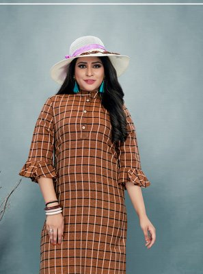 Brown Printed Cotton Party Wear Kurti