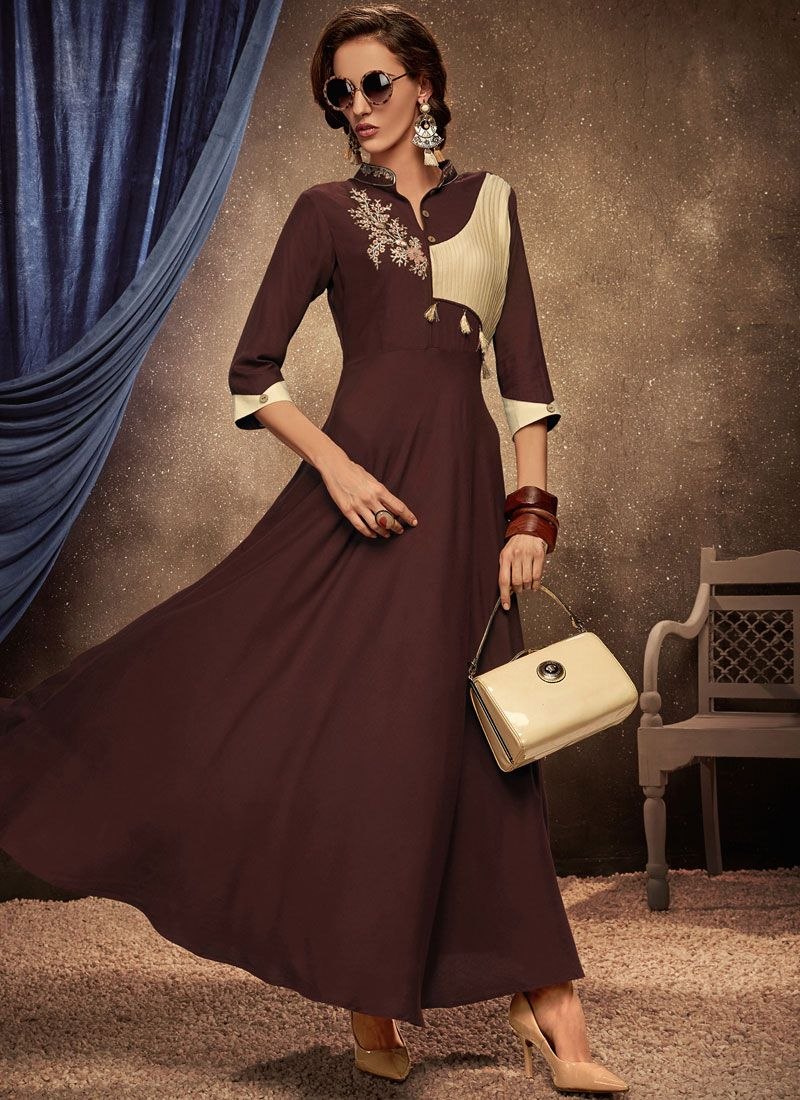 Brown Rayon Party Party Wear Kurti