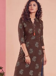 Brown Rayon Party Wear Kurti