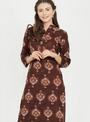 Brown Rayon Print Party Wear Kurti