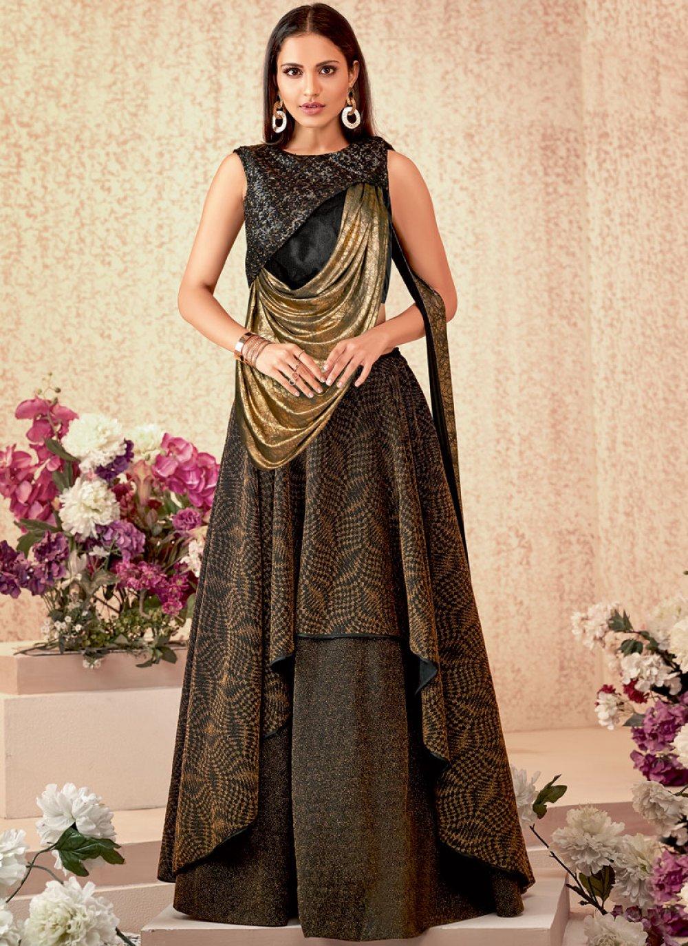 Brown Reception Lycra Designer A Line Lehenga Choli