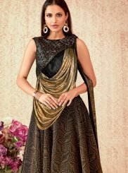 Brown Reception Lycra Designer A Line Lehenga Choli