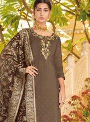 Brown Resham Designer Pakistani Suit