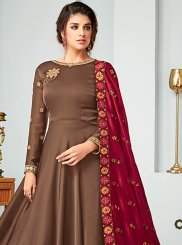 Buy Online Brown Resham Floor Length Anarkali Suit