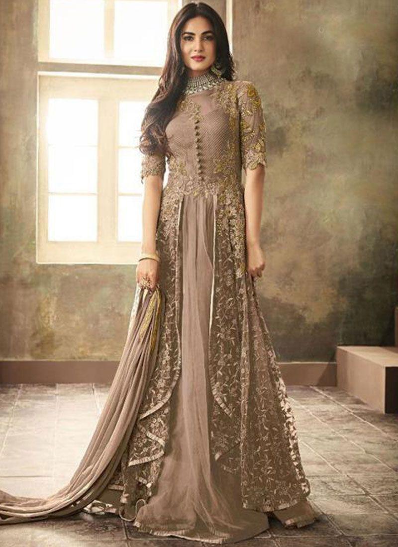 Brown Resham Floor Length Anarkali Suit