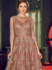 Brown Resham Net Floor Length Anarkali Suit