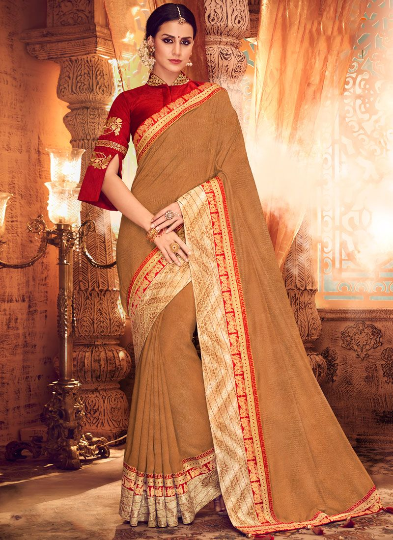 Brown Sangeet Art Silk Classic Saree