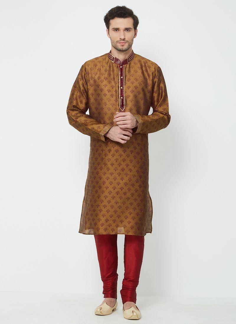Brown Sangeet Kurta Pyjama