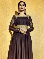 Brown Satin Festival Anarkali Salwar Kameez
