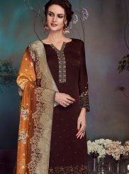 Brown Swarovski Georgette Satin Pant Style Suit