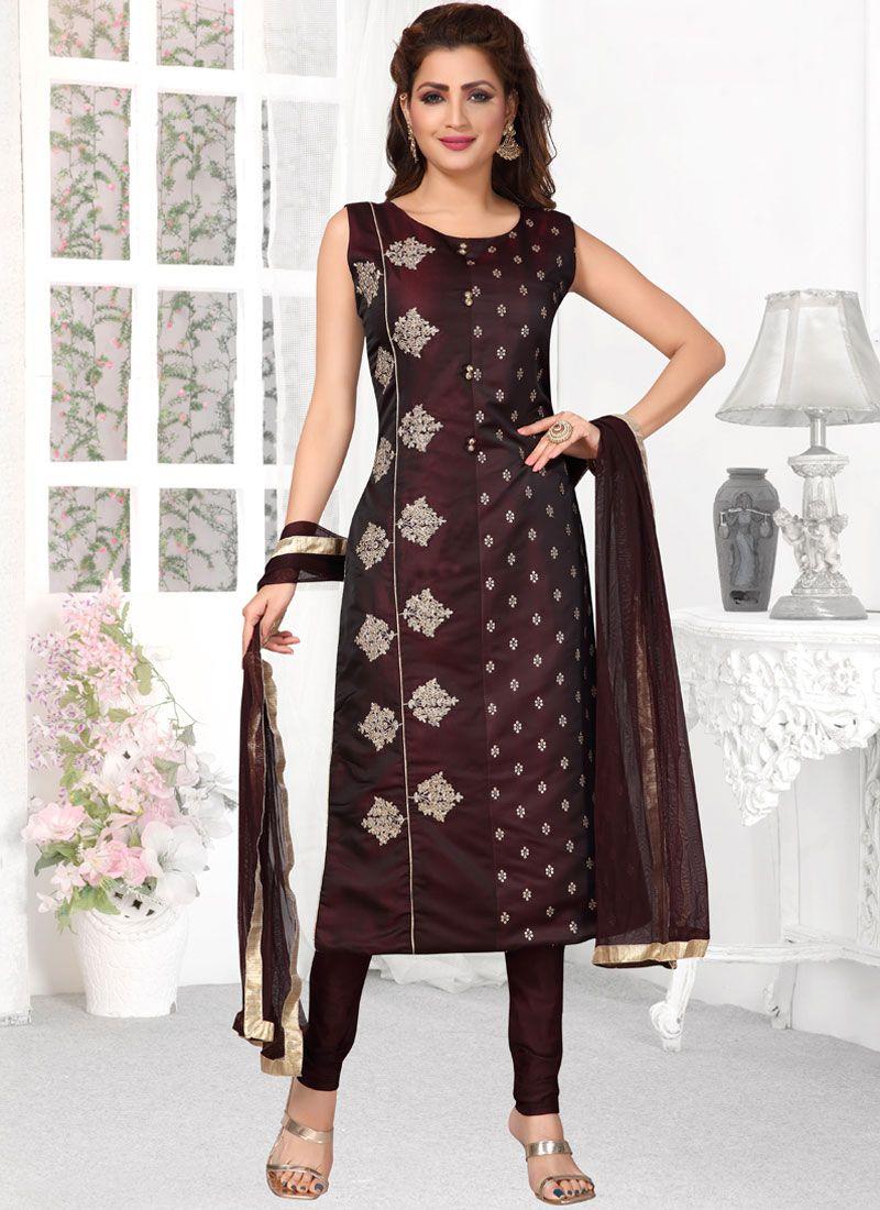 Brown Tafeta Silk Readymade Suit