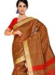 Brown Tussar Silk Traditional Saree