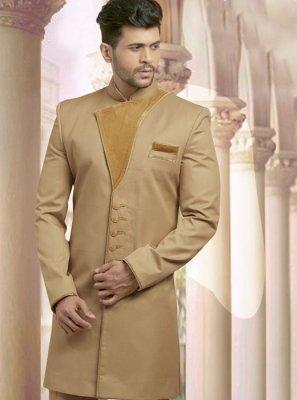 Brown Velvet Reception Sherwani