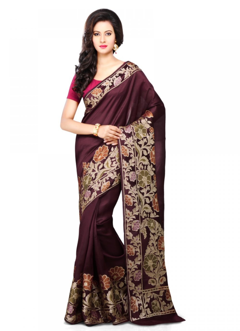 Brown Weaving Art Banarasi Silk Designer Traditional Saree
