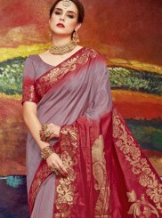 Brown Weaving Art Silk Classic Saree