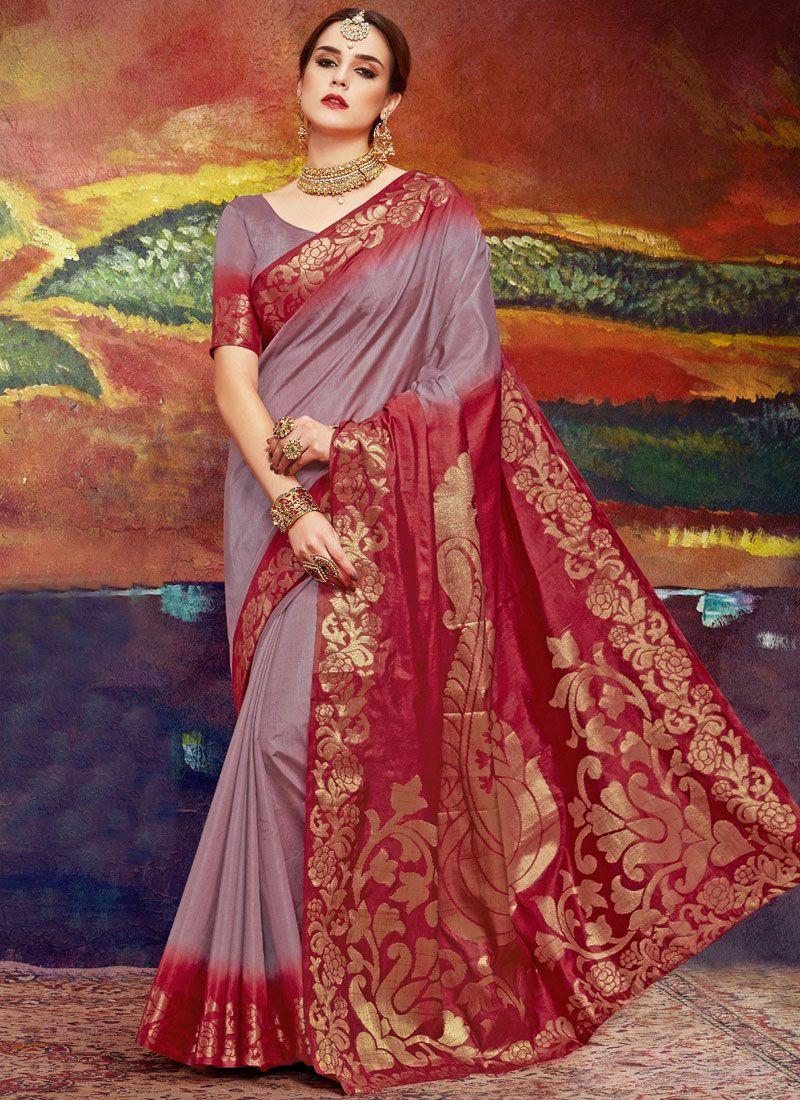 Brown Weaving Art Silk Classic Saree