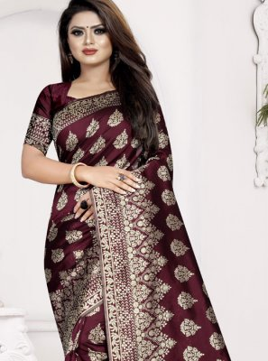 Brown Weaving Art Silk Designer Traditional Saree