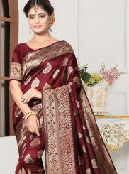 Brown Weaving Art Silk Traditional Designer Saree
