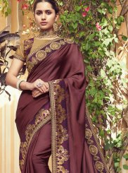 Brown Weaving Festival Traditional Designer Saree