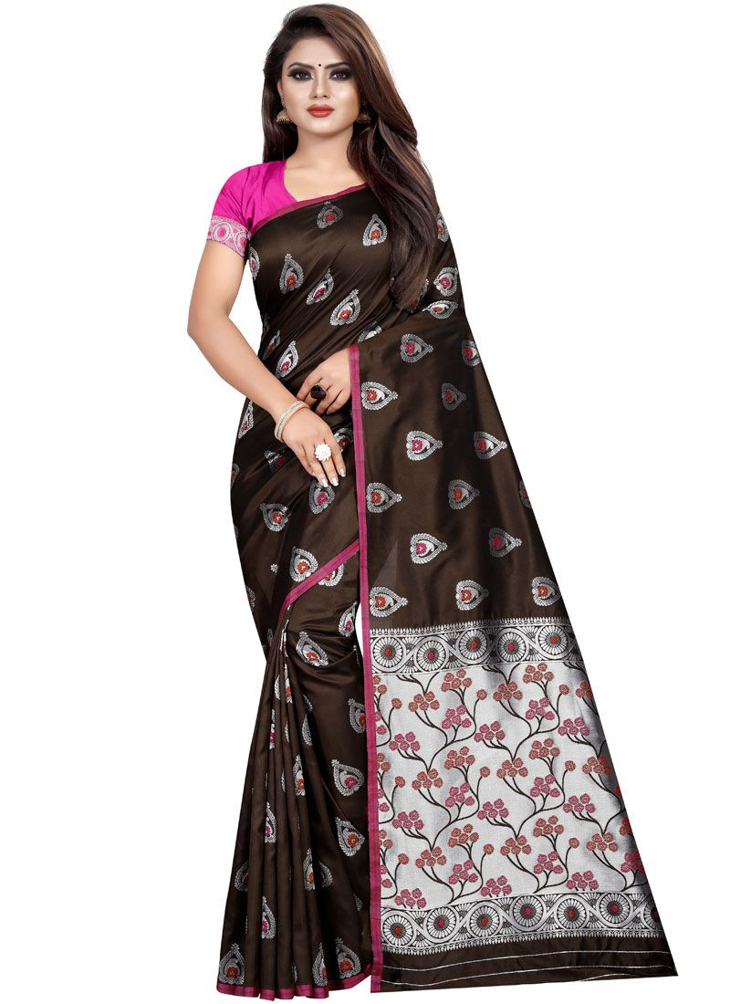 Brown Weaving Silk Classic Saree