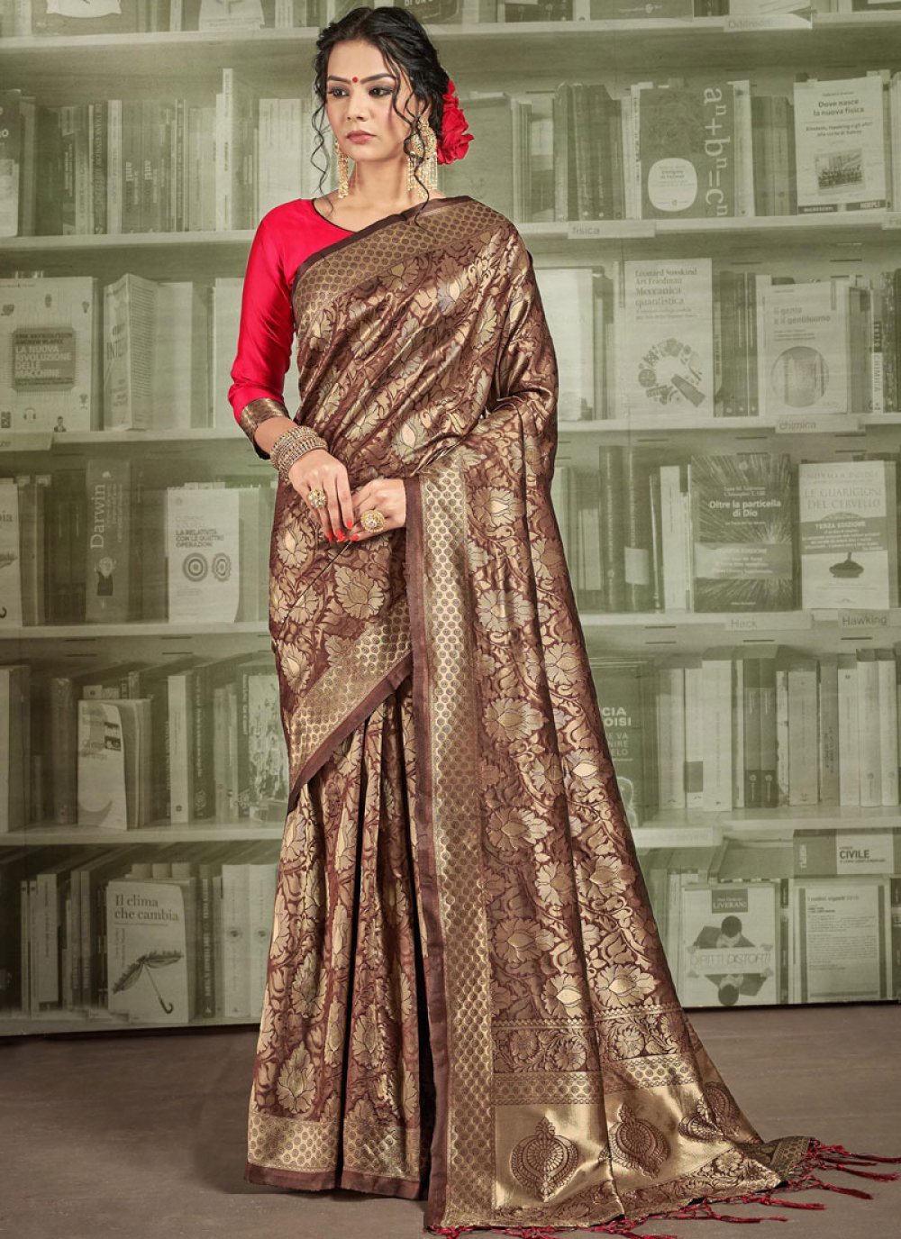 Brown Weaving Silk Saree