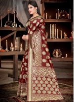 Brown Weaving Traditional Saree
