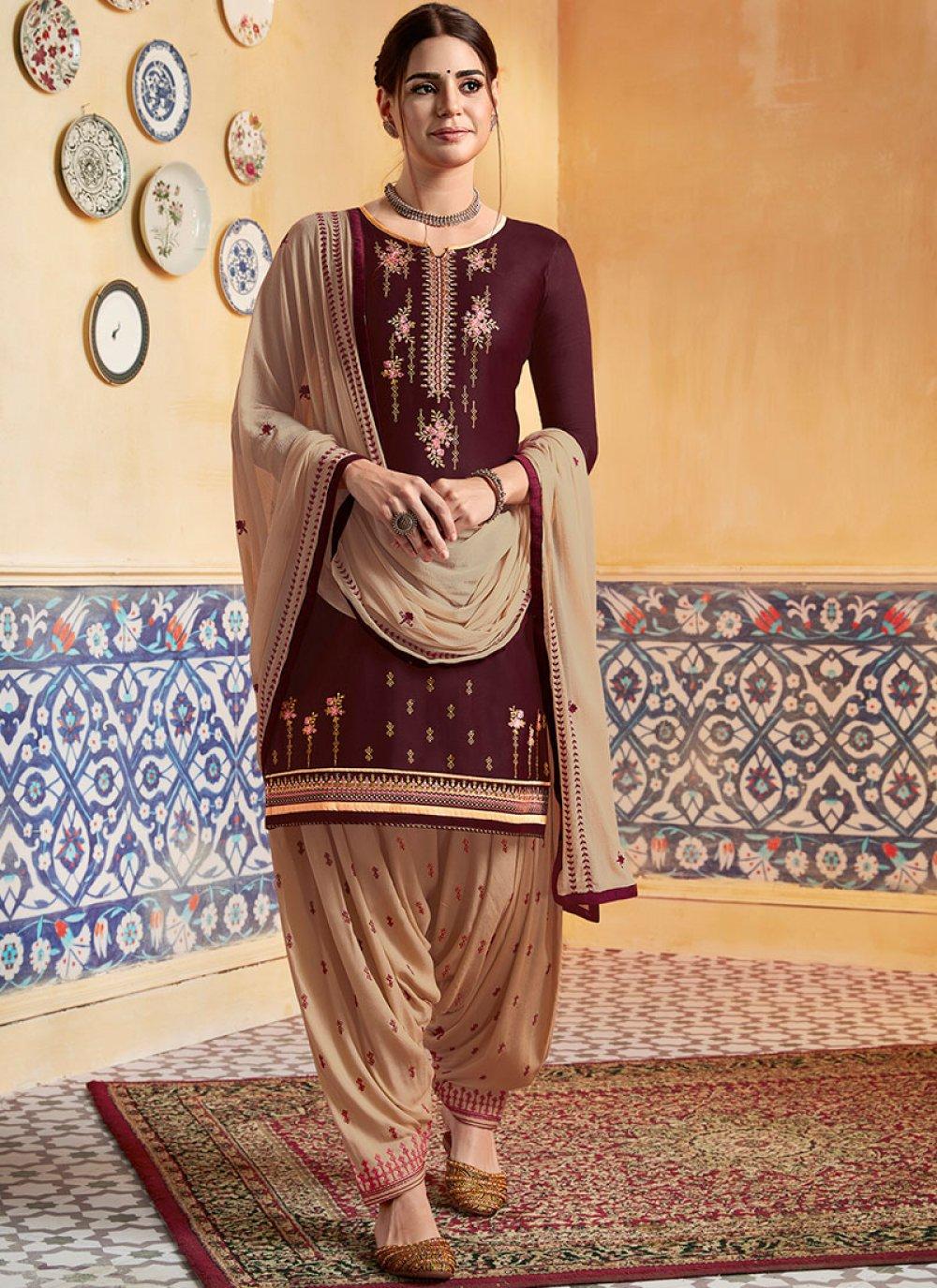 Brown Wedding Designer Patiala Suit