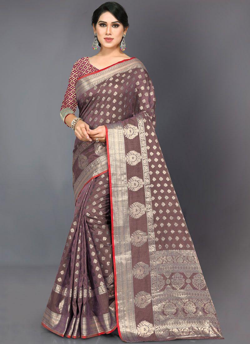 Brown Woven Art Silk Designer Traditional Saree
