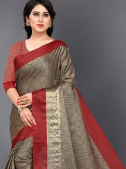 Brown Woven Casual Saree
