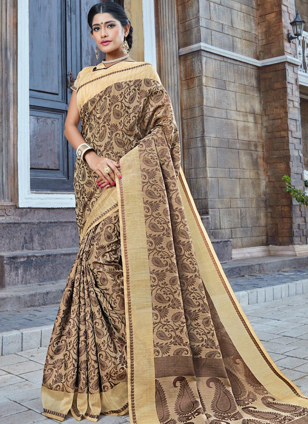Brown woven Work Traditional Designer Saree