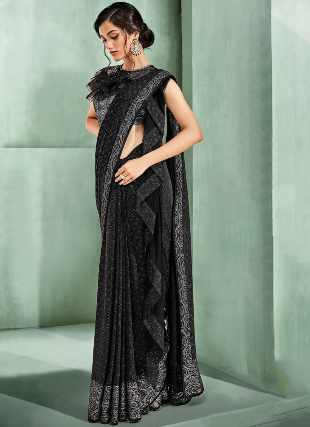 Butta Lycra Black Trendy Saree