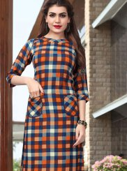Casual Kurti Abstract Print Rayon in Multi Colour