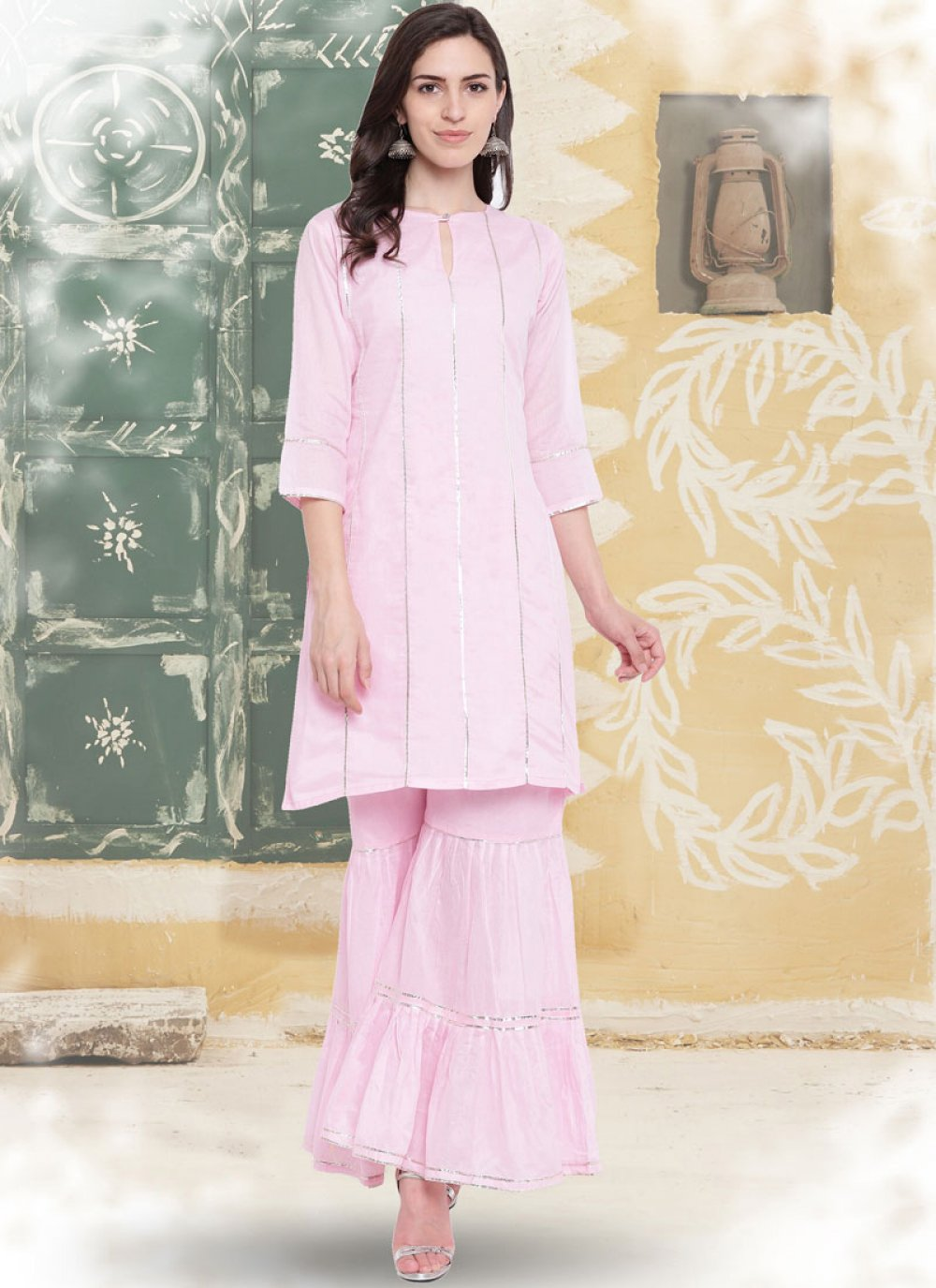 Casual Kurti Embroidered Cotton in Rose Pink