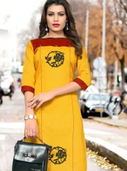 Casual Kurti Fancy Cotton in Yellow