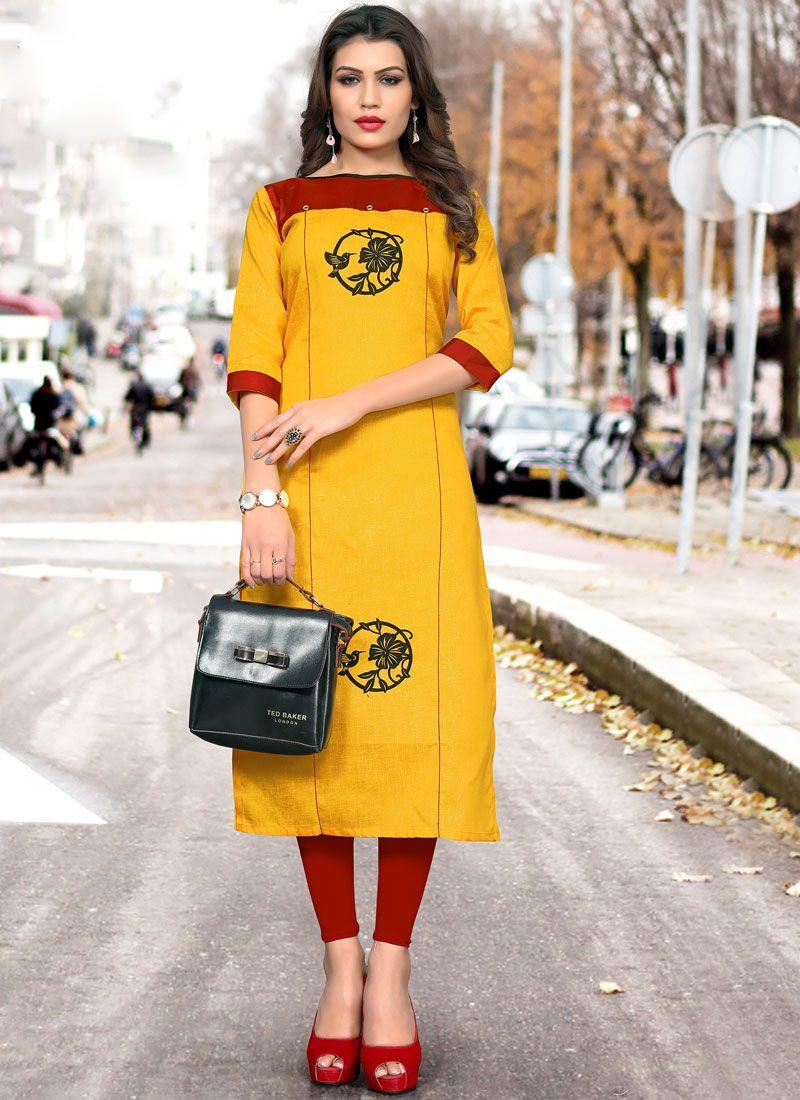 Casual Kurti Fancy Cotton in Yellow