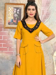 Casual Kurti katha Rayon in Yellow