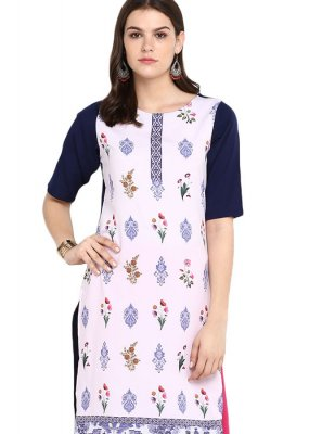 Casual Kurti Mukesh Faux Crepe in Multi Colour