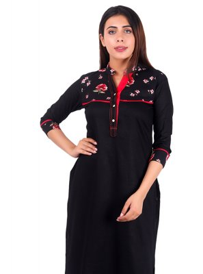 Casual Kurti Plain Rayon in Black