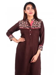 Casual Kurti Plain Rayon in Brown