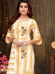 Casual Kurti Print Rayon in Yellow