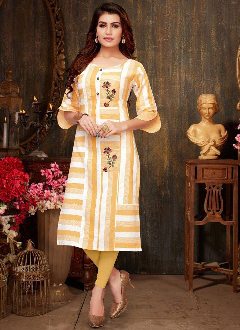 Casual Kurti Print Rayon in Yellow