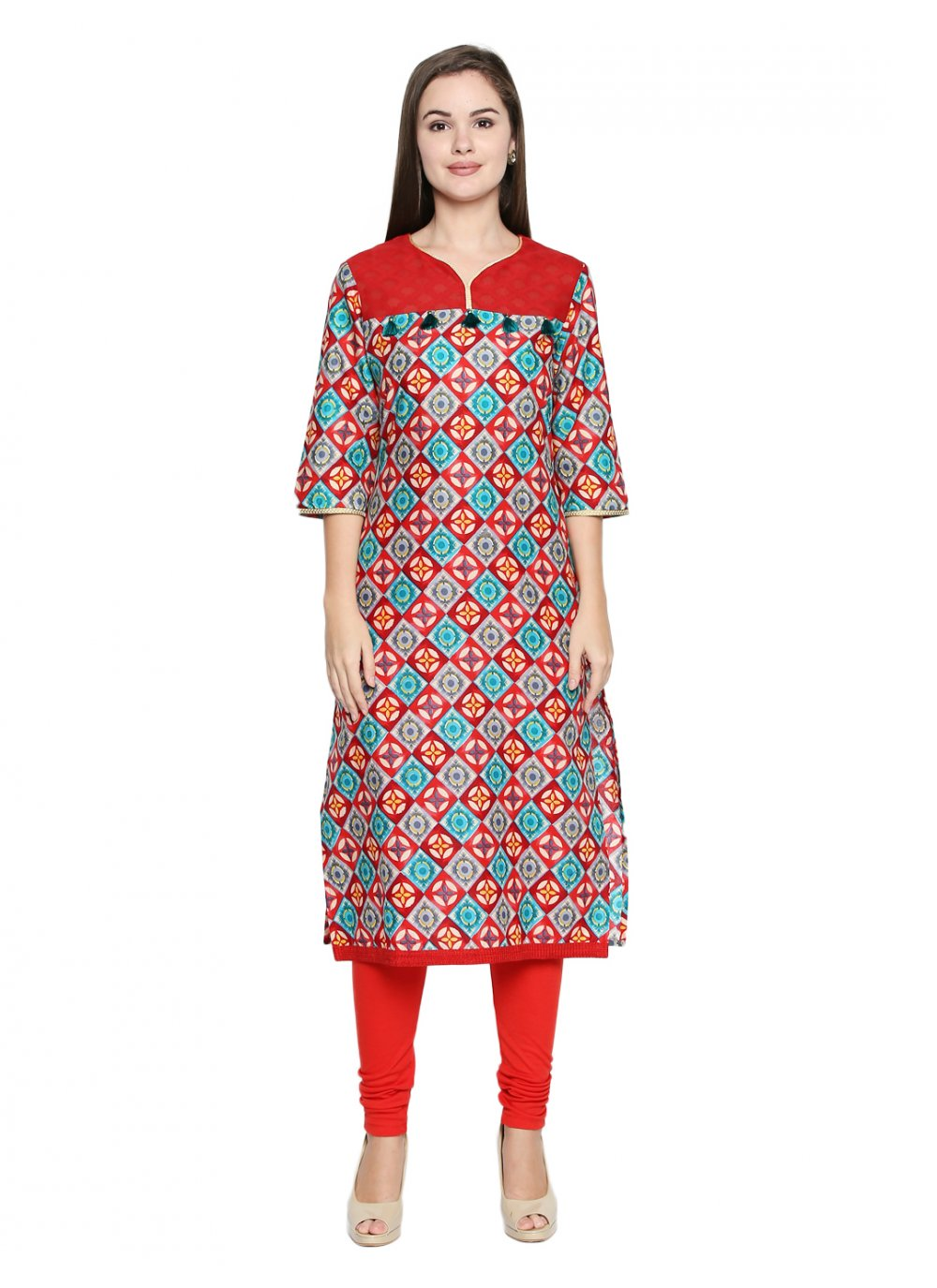 Casual Kurti Printed Cotton in Red
