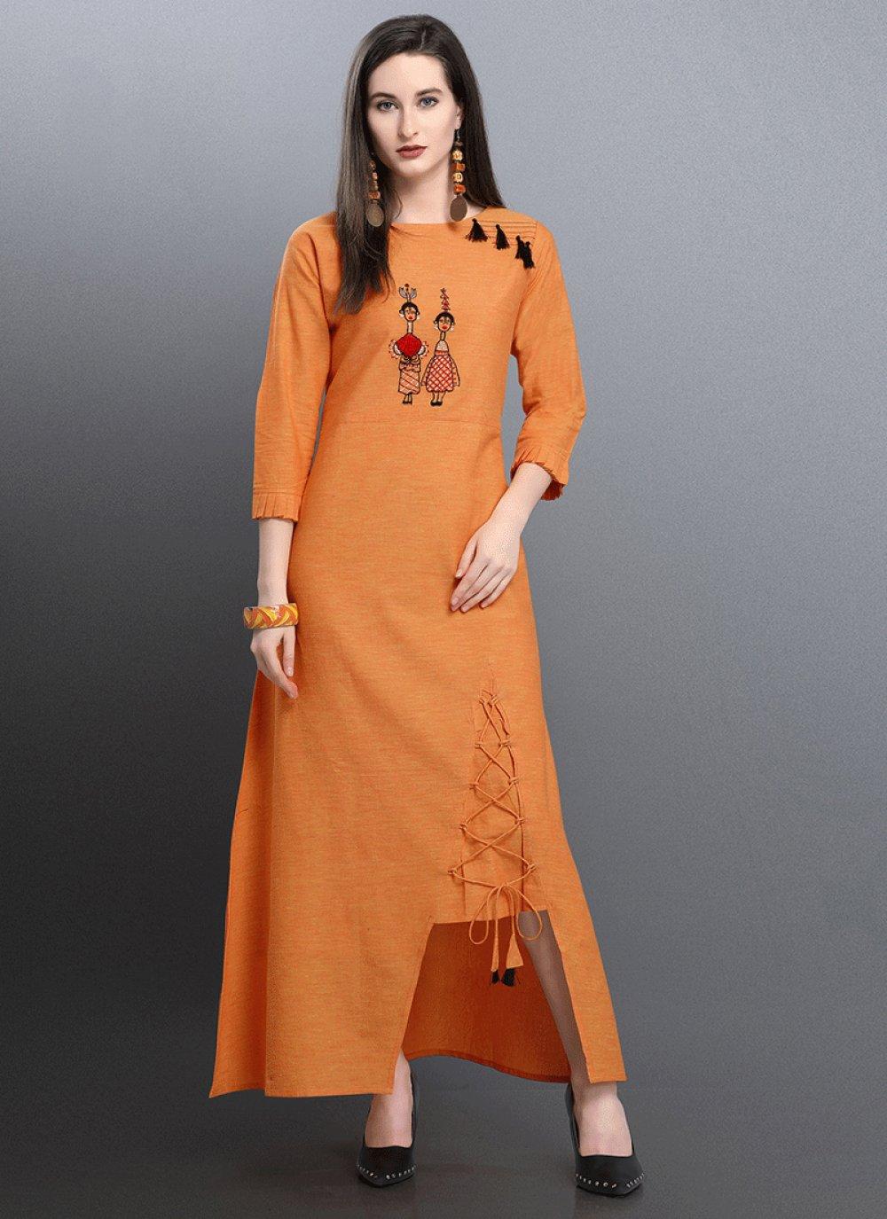 Casual Kurti Thread Work Cotton in Orange