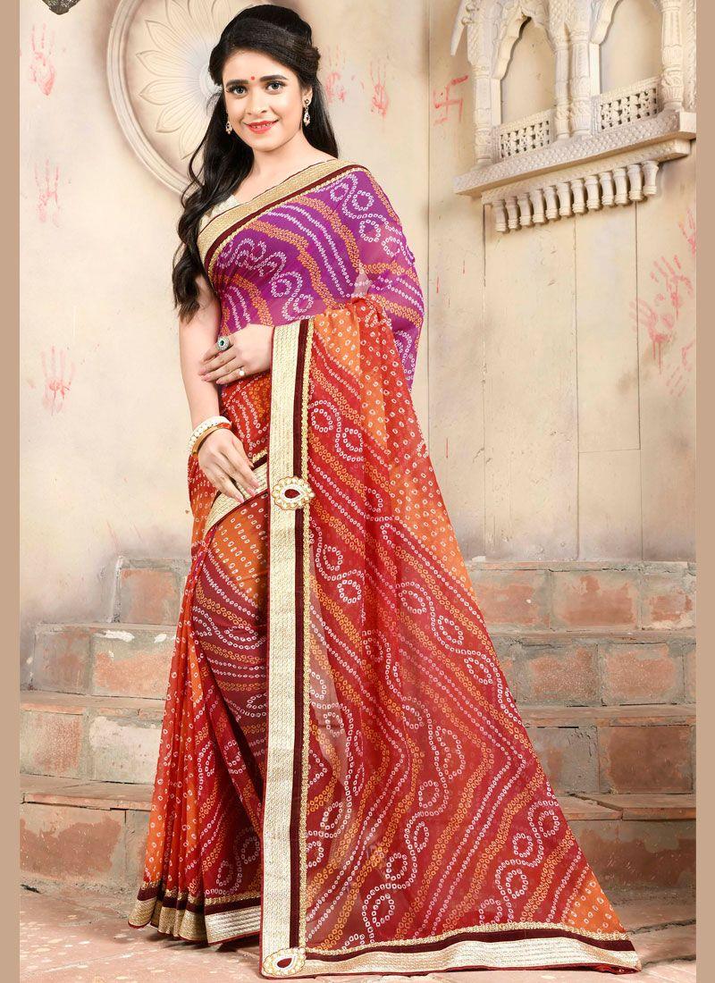 Casual Saree Embroidered Art Silk in Multi Colour