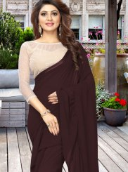 Casual Saree Plain Faux Georgette in Brown