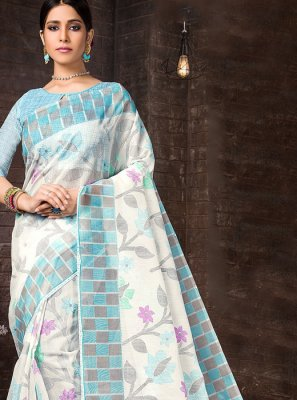 Casual Saree Printed Cotton in Aqua Blue and Off White