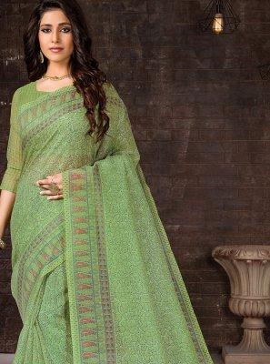 Casual Saree Printed Cotton in Sea Green
