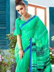 Casual Saree Printed Faux Georgette in Turquoise