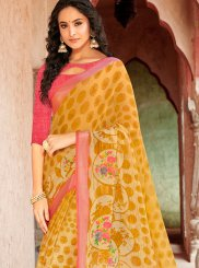 Casual Saree Printed Faux Georgette in Yellow