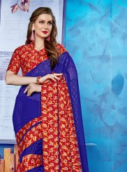 Casual Saree Printed Georgette Satin in Blue